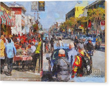 Fishermans Wharf San Francisco California . Painterly . 7d14485 Wood Print by Wingsdomain Art and Photography