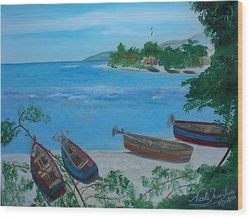 Fishermen Boats By The Sea Wood Print by Nicole Jean-Louis