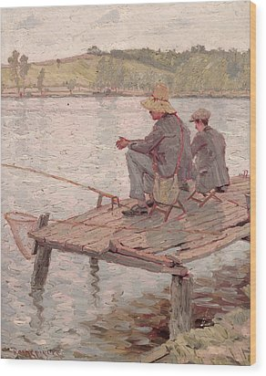 Fishermen Wood Print by Pierre Roche