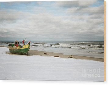 Wood Print featuring the photograph Fishermen's Boat Waiting On A Beach by Agnieszka Kubica