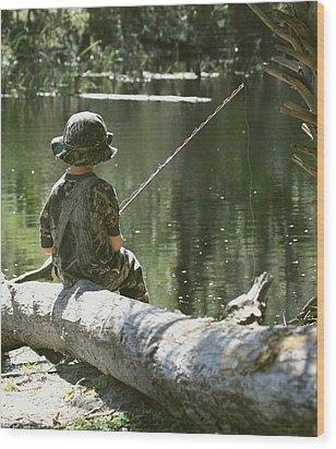 Fishin' And Wishin' Wood Print by Myrna Bradshaw