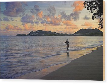 Wood Print featuring the photograph Fishing At Dawn- St Lucia by Chester Williams