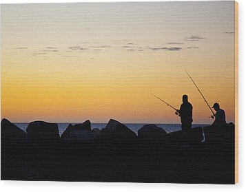 Wood Print featuring the photograph Fishing At Sunset by Serene Maisey
