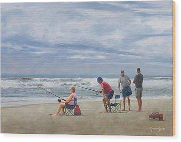Fishing At The Beach Wood Print by Norman Drake