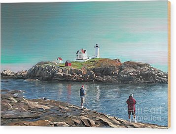 Fishing At The Nubble Lighthouse Wood Print by Earl Jackson