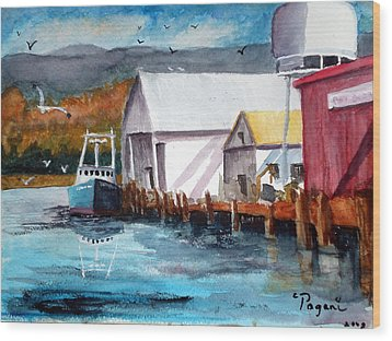 Fishing Boat And Dock Watercolor Wood Print by Chriss Pagani