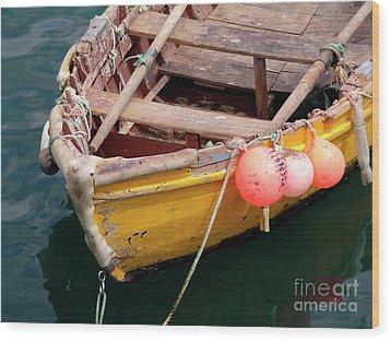 Fishing Boat Wood Print by Carlos Caetano