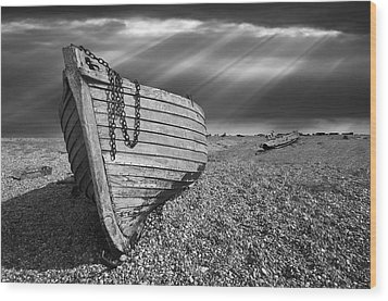 Fishing Boat Graveyard 2 Wood Print by Meirion Matthias