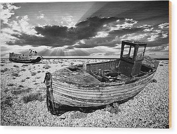 Fishing Boat Graveyard Wood Print by Meirion Matthias