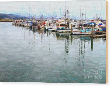 Fishing Boats At The Dock . 7d8187 Wood Print by Wingsdomain Art and Photography