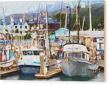 Fishing Boats At The Dock . 7d8213 Wood Print by Wingsdomain Art and Photography