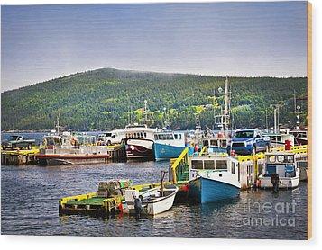Fishing Boats In Newfoundland Wood Print by Elena Elisseeva