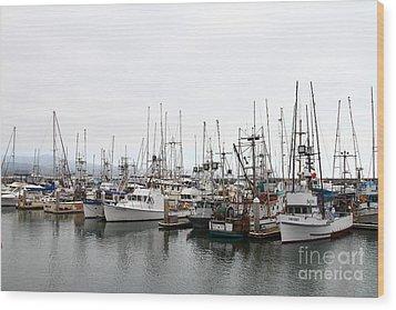 Fishing Boats In Pillar Point Harbor At Half Moon Bay California . 7d8196 Wood Print by Wingsdomain Art and Photography