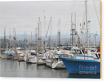 Fishing Boats In Pillar Point Harbor At Half Moon Bay California . 7d8208 Wood Print by Wingsdomain Art and Photography