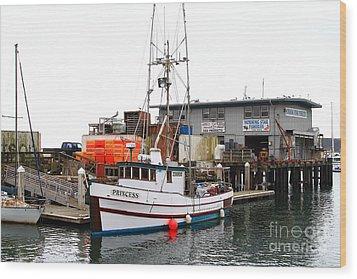 Fishing Boats In Pillar Point Harbor At Half Moon Bay California . 7d8210 Wood Print by Wingsdomain Art and Photography