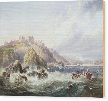 Fishing Boats Off Scotland Wood Print by John Wilson Carmichael