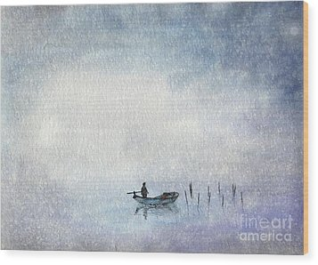 Fishing By Moonlight Wood Print