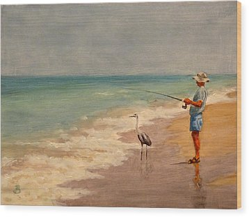 Wood Print featuring the painting Fishing Friends by Joe Bergholm
