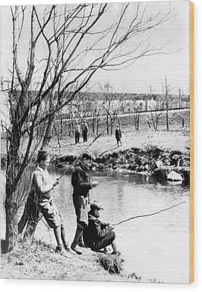 Fishing In The Bronx River,  New York Wood Print by Everett