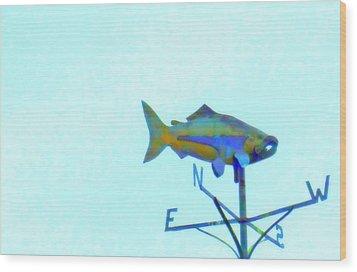 Fishing In Vane Wood Print by Randall Weidner