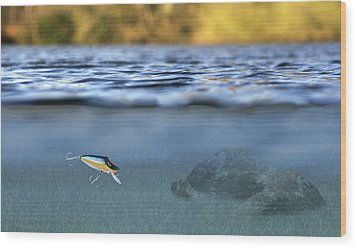 Fishing Lure In Use Wood Print by Meirion Matthias