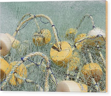 Fishing Nets And Weights Wood Print