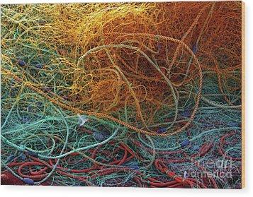 Fishing Nets Wood Print by Carlos Caetano