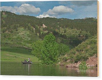 Fishing On Horsetooth Reservoir Wood Print by Harry Strharsky