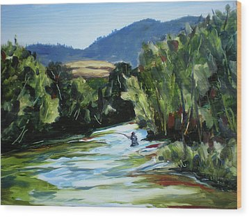 Fishing On The Boise Wood Print by Les Herman