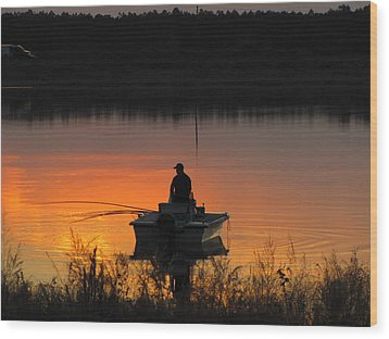 Fishing On Tower Lake Wood Print