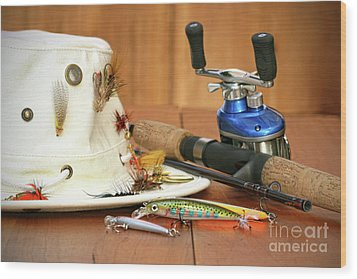 Fishing Reel With Hat And Color Lures Wood Print by Sandra Cunningham