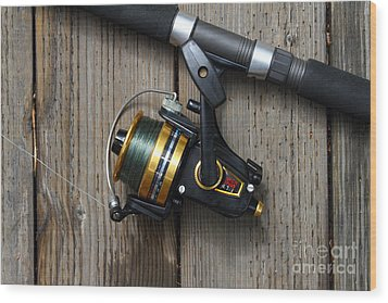 Fishing Rod And Reel . 7d13542 Wood Print by Wingsdomain Art and Photography