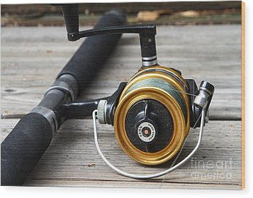 Fishing Rod And Reel . 7d13547 Wood Print by Wingsdomain Art and Photography