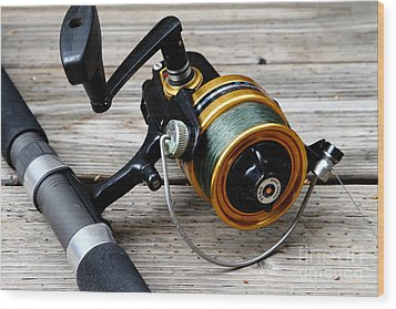 Fishing Rod And Reel . 7d13549 Wood Print by Wingsdomain Art and Photography