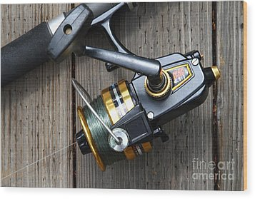 Fishing Rod And Reel . 7d13565 Wood Print by Wingsdomain Art and Photography