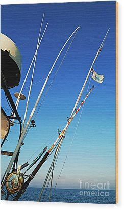 Fishing Rods Wood Print by Sami Sarkis