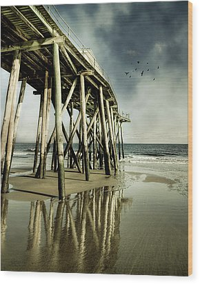 Fishing Shack Pier Wood Print by Jody Trappe Photography