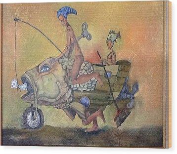 Fishing Smiles Wood Print by Carlos Rodriguez Yorde