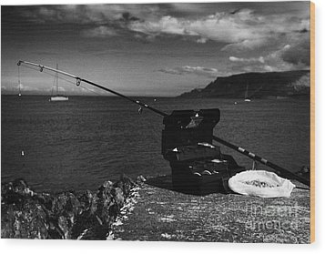 Fishing Tackle Box Filled With Sea Fishing Gear Rod And Bait On The County Antrim Coast Wood Print by Joe Fox