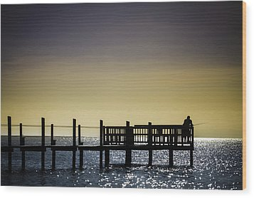 Fishing The End Of The Pier Wood Print by Mabry Campbell