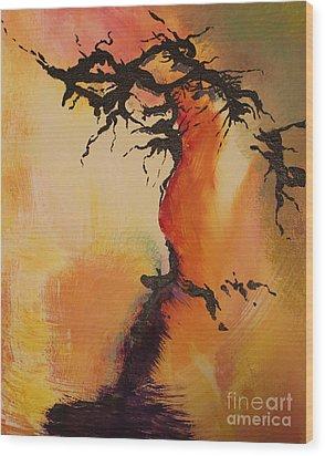 Fisure Wood Print by Carolyn Weir
