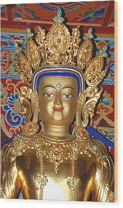 Wood Print featuring the photograph Five Dhyani Buddhas 1 by Lanjee Chee