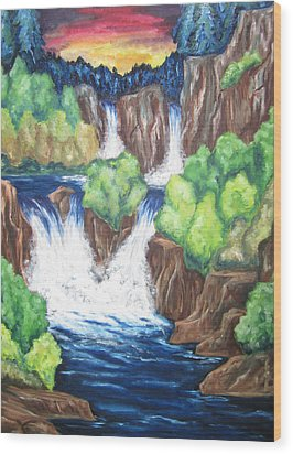 Wood Print featuring the painting Five Falls by Cheryl Pettigrew
