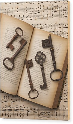 Five Old Keys Wood Print by Garry Gay