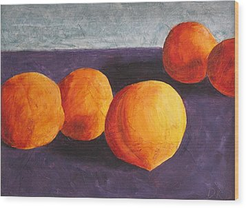 Five Peaches Wood Print by Dina Day