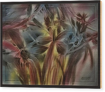 Wood Print featuring the pastel Fivepetalscomp 2010 by Glenn Bautista