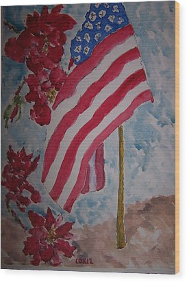 Flag And Roses Wood Print by James Cox