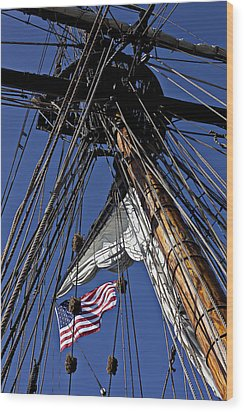 Flag In The Rigging Wood Print by Garry Gay