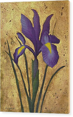 Wood Print featuring the mixed media Flag Iris With Gold Leaf by Kerri Ligatich