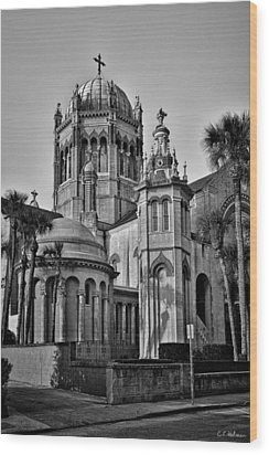Flagler Memorial Presbyterian Church 3 - Bw Wood Print by Christopher Holmes